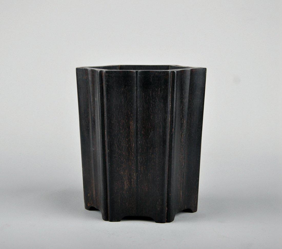 A Zitan Brush Pot - 2
