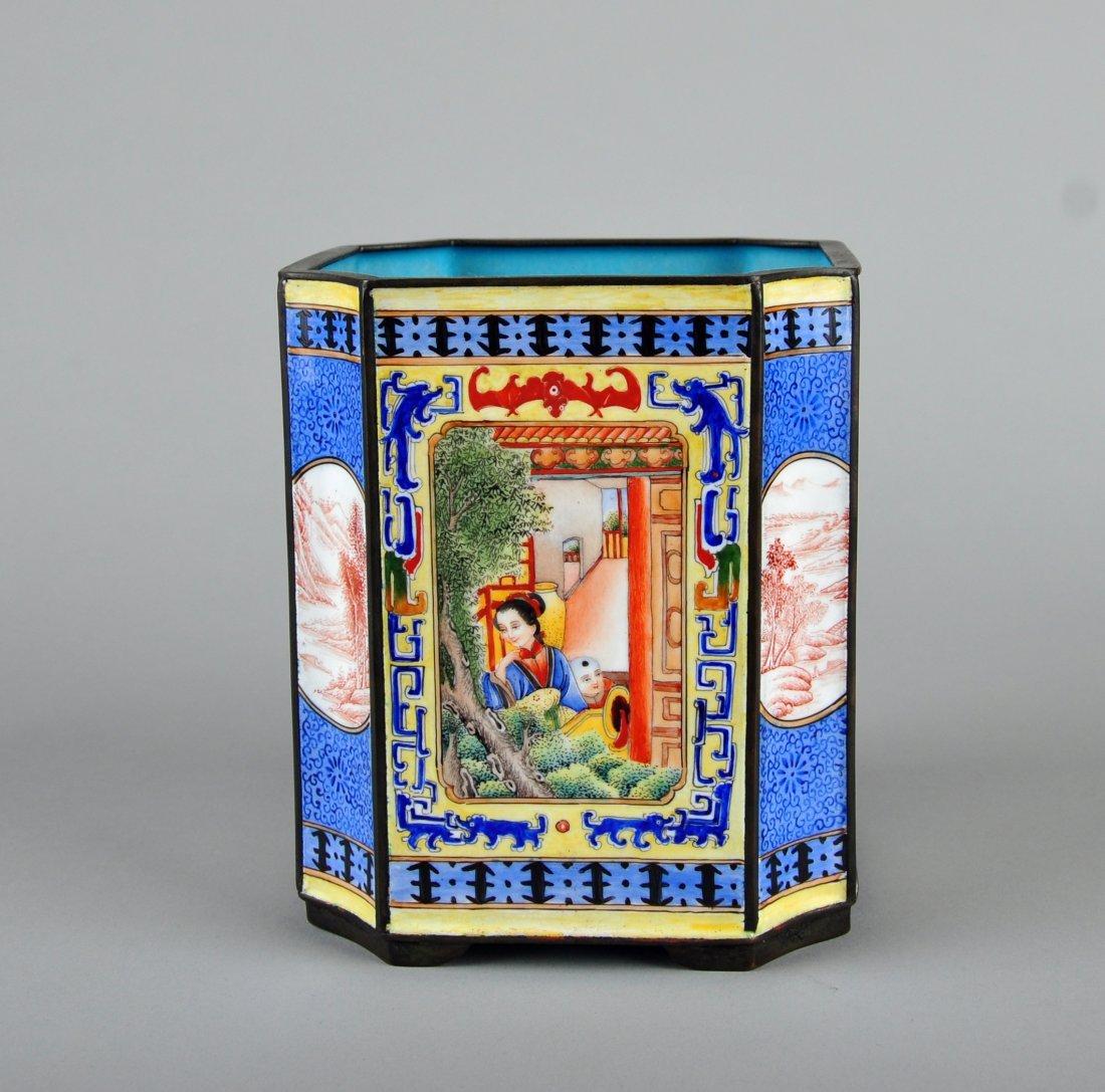 A Enamelled Copper Brush Pot, Qing Dynasty - 5