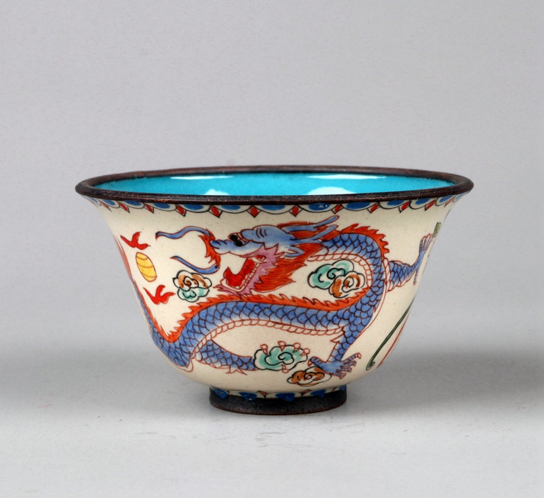 A Enamelled Copper Dragon and Phoenix Cup, Qing Dynasty