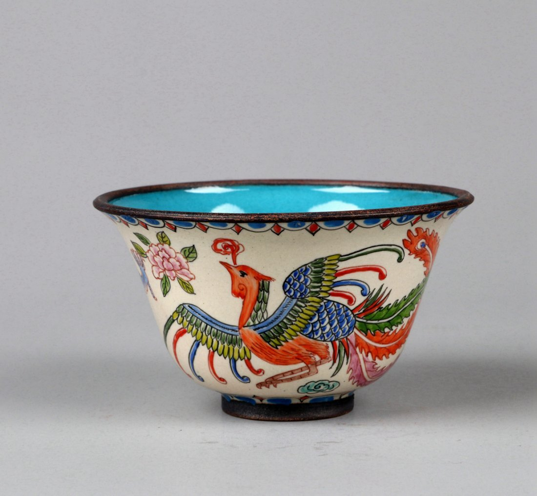 A Enamelled Copper Dragon and Phoenix Cup, Qing Dynasty - 2