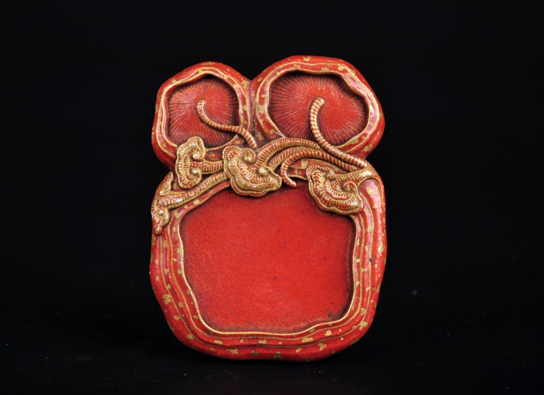 A Coral Red Schoolar's Object, Qing Dynasty