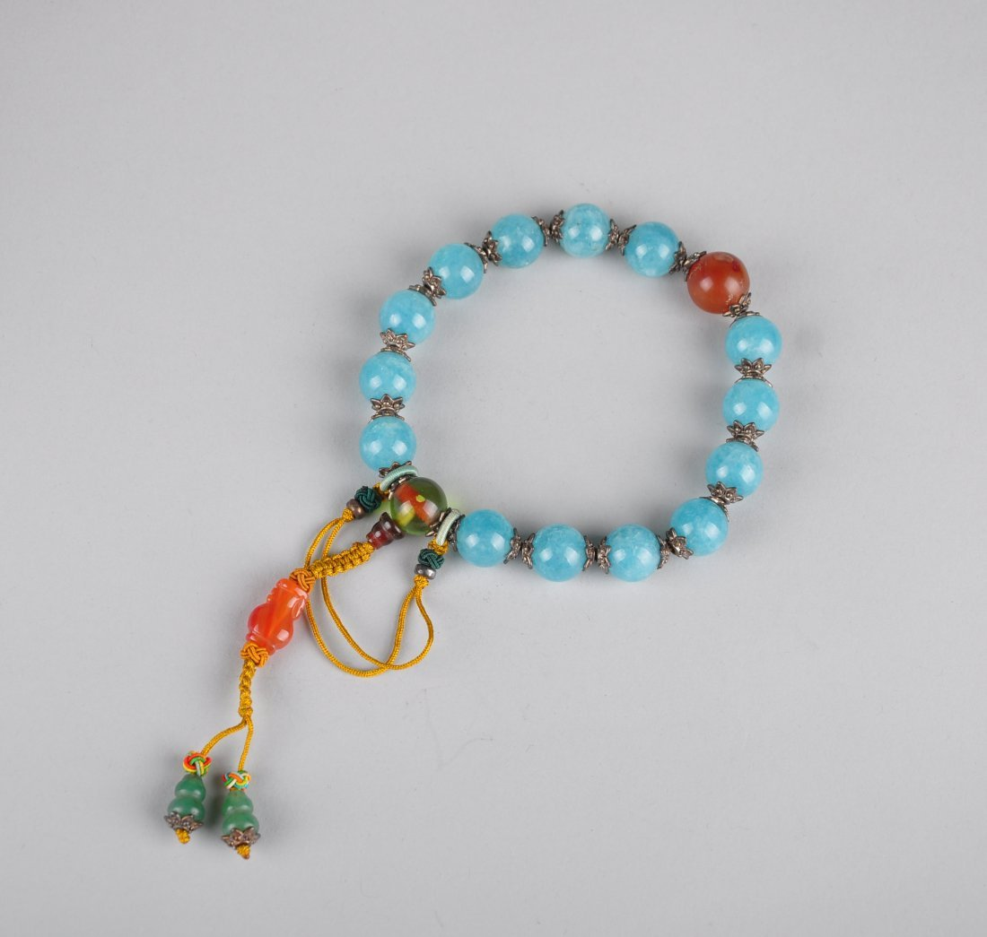 A Blue Gem Stone Bracelet with Box, Qing Dynasty - 6