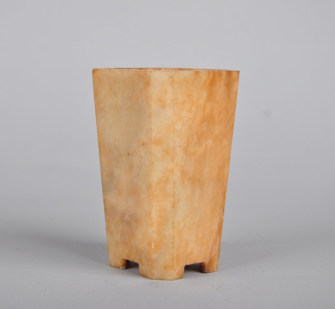 A White Stone Square Brush Pot, Qing Dynasty