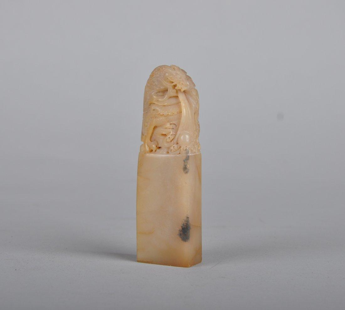 A Soapstone Dragon seal, Qing Dynasty