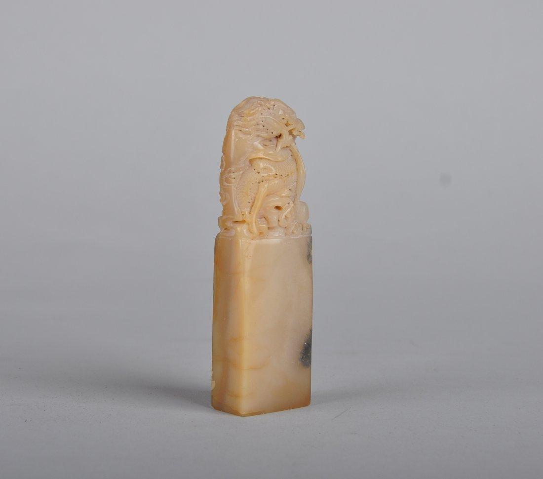 A Soapstone Dragon seal, Qing Dynasty - 2