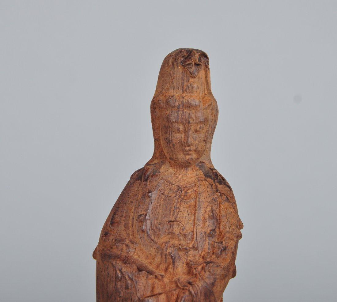 A Sandalwood Guanyin Figure - 3
