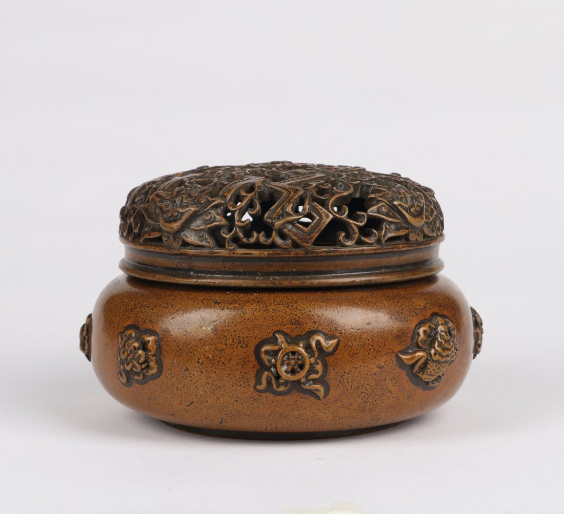 An Eight Immortals Bronze Incense Burner with Lid