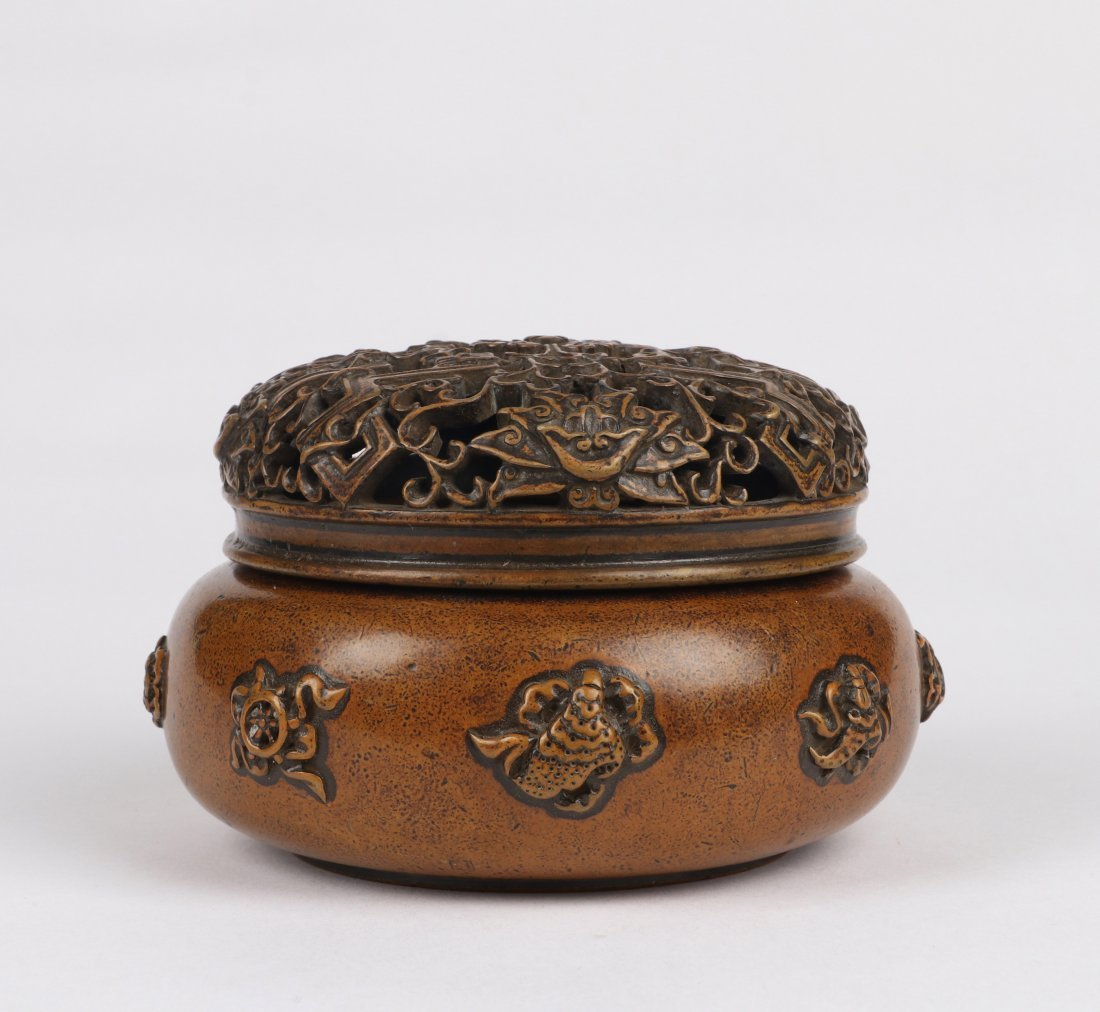 An Eight Immortals Bronze Incense Burner with Lid - 2