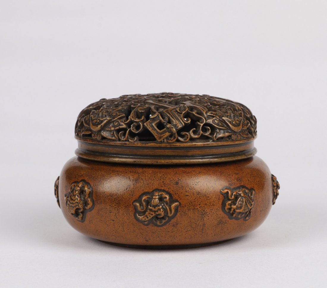 An Eight Immortals Bronze Incense Burner with Lid - 3