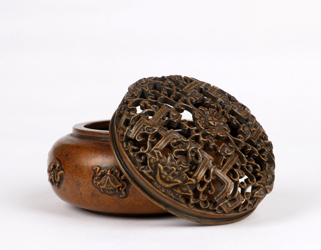 An Eight Immortals Bronze Incense Burner with Lid - 4