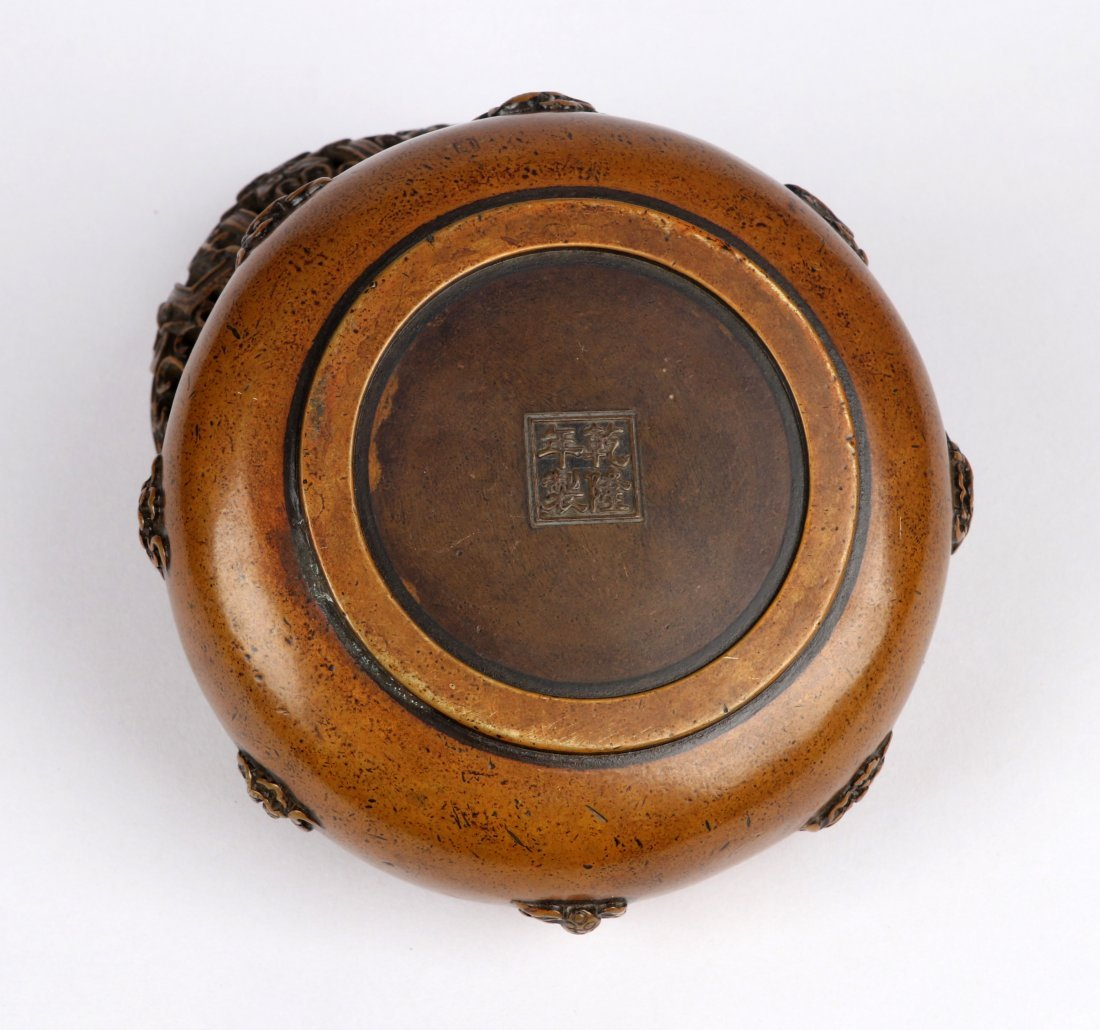 An Eight Immortals Bronze Incense Burner with Lid - 5