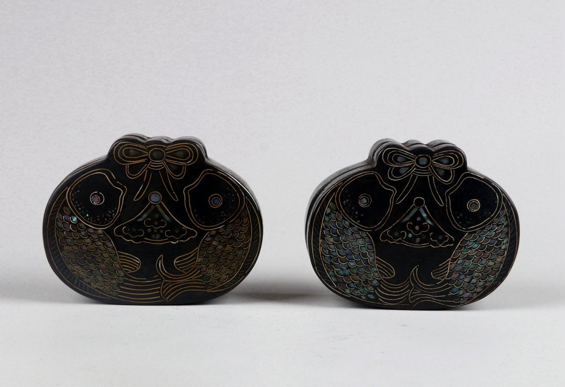 A Pair of Mother-of-Pearl Inlaid Black Lacquer Boxes