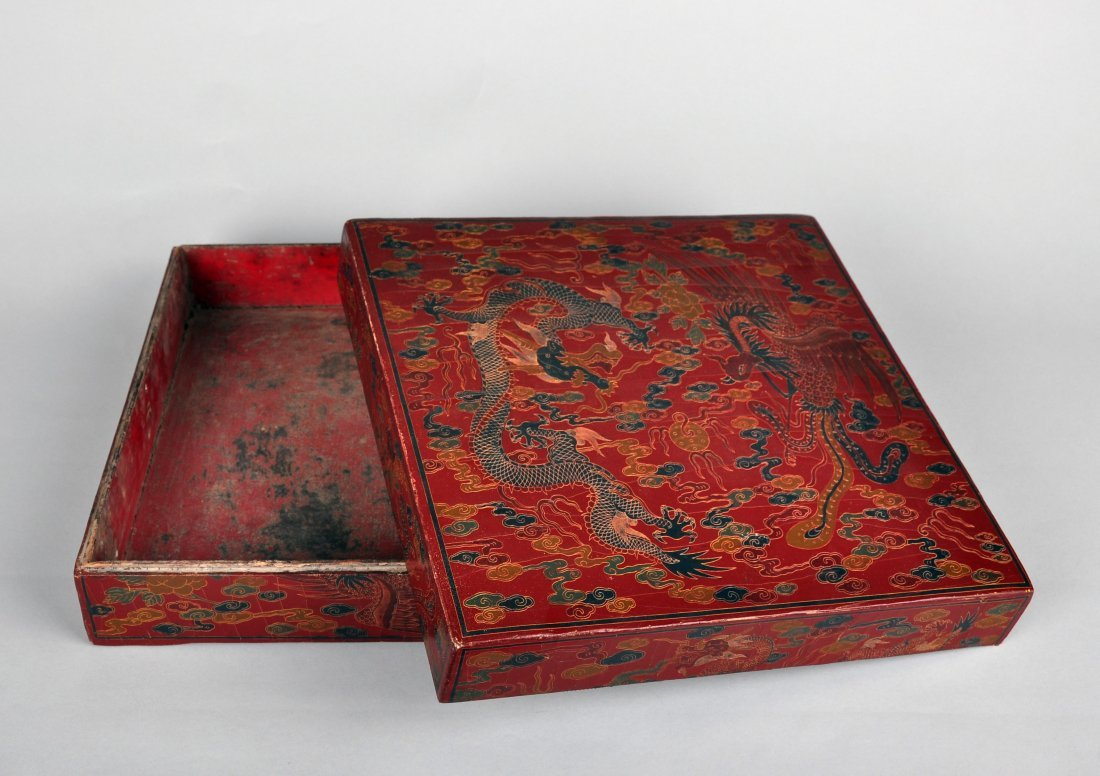 A Red Lacquer Dragon and Phoenix Box, Qing Dynasty