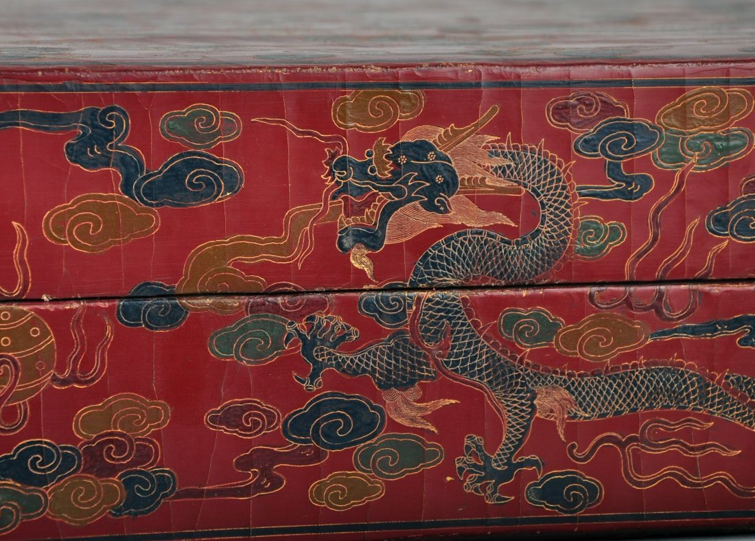 A Red Lacquer Dragon and Phoenix Box, Qing Dynasty - 2