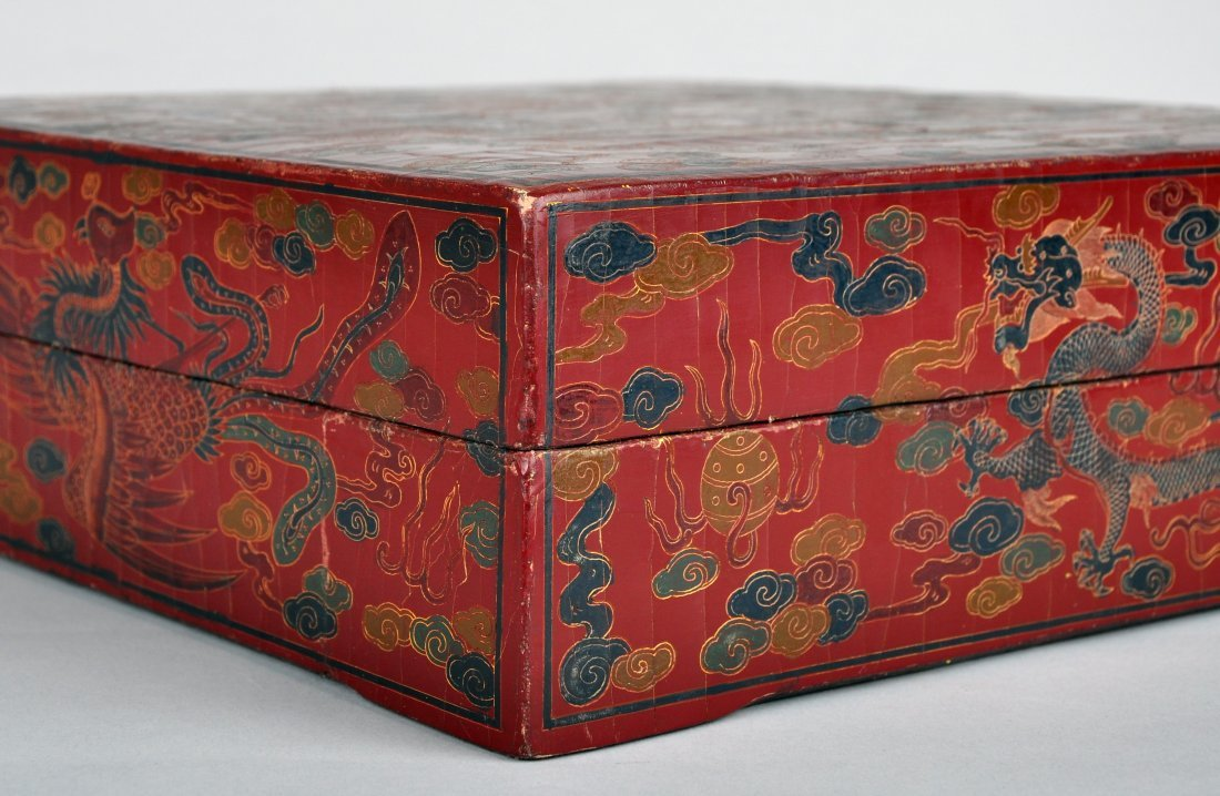 A Red Lacquer Dragon and Phoenix Box, Qing Dynasty - 3