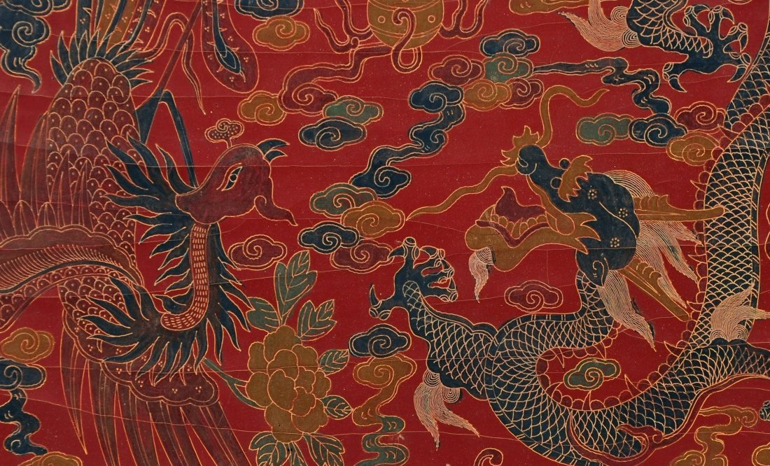A Red Lacquer Dragon and Phoenix Box, Qing Dynasty - 4