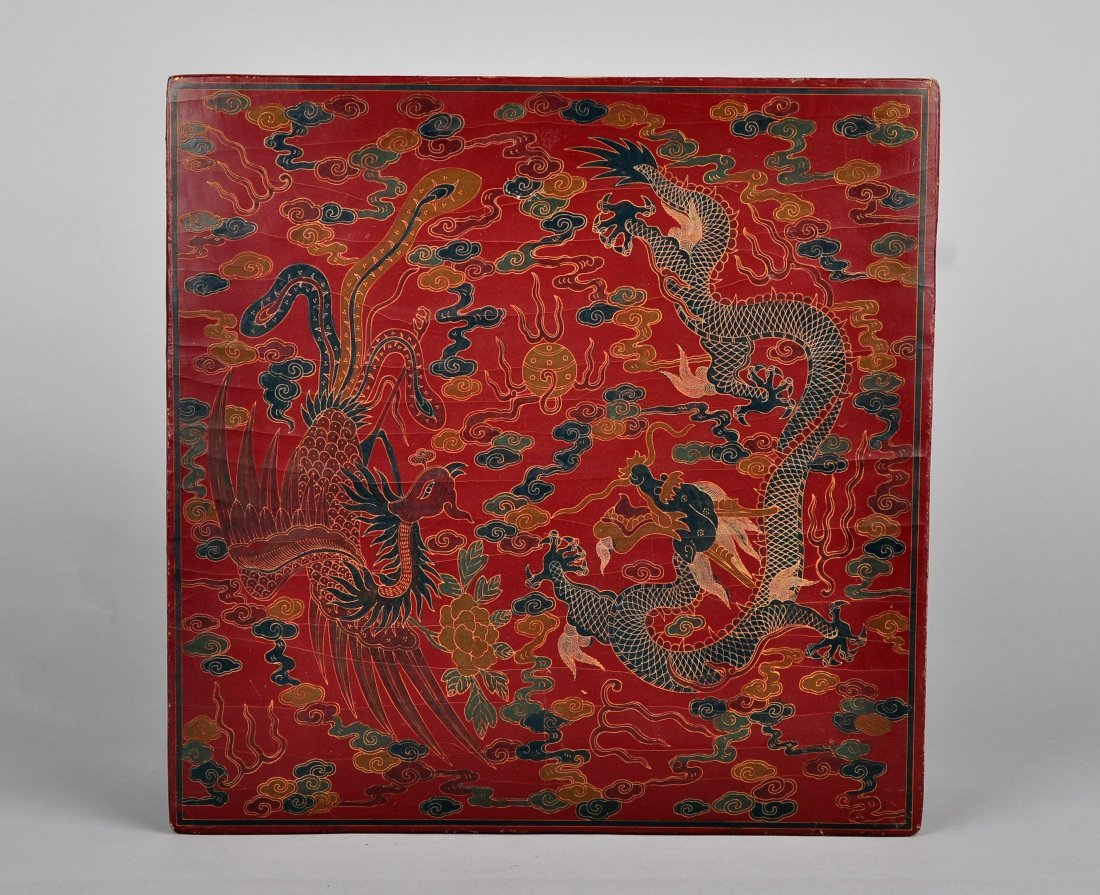 A Red Lacquer Dragon and Phoenix Box, Qing Dynasty - 6