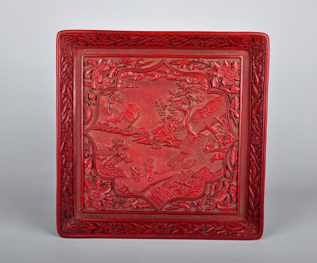 A Craved Lacquer Square Plate, Qing Dynasty