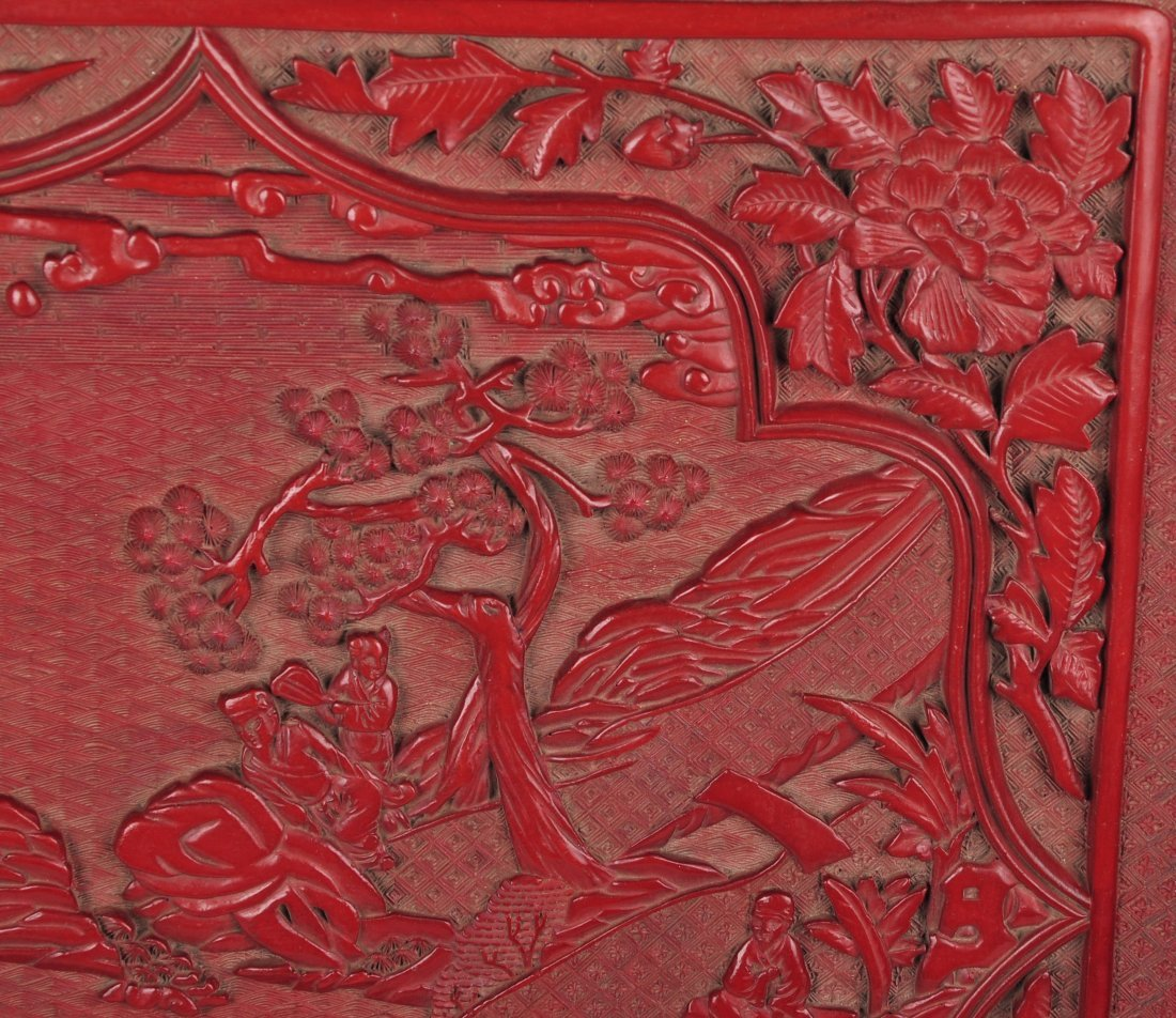 A Craved Lacquer Square Plate, Qing Dynasty - 2