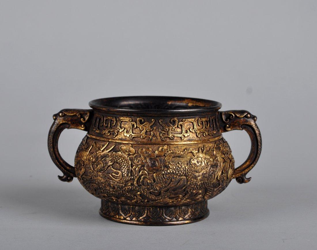A Parcel-Gilt Bronze Censer, Qing Dynasty