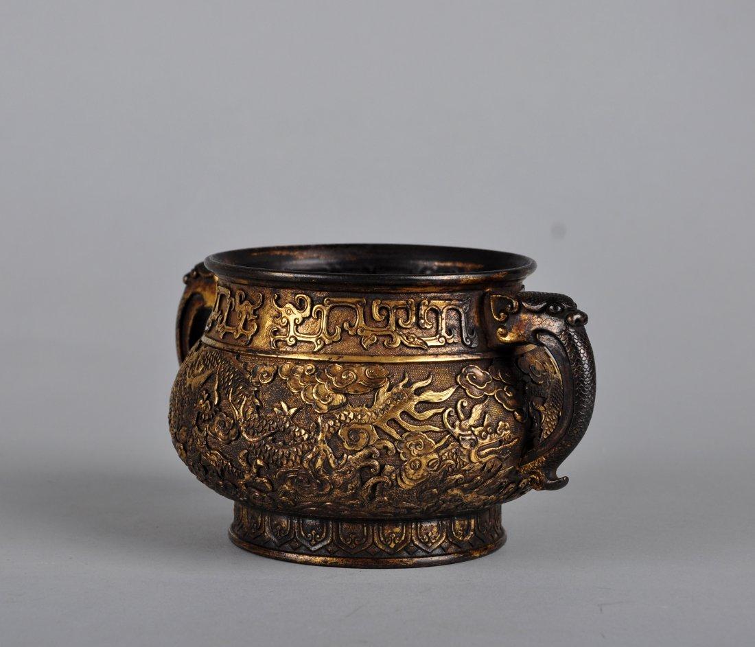 A Parcel-Gilt Bronze Censer, Qing Dynasty - 3