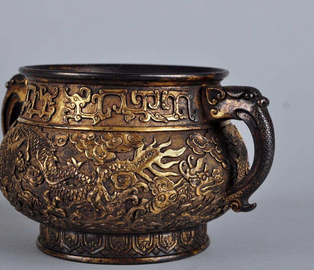 A Parcel-Gilt Bronze Censer, Qing Dynasty - 4