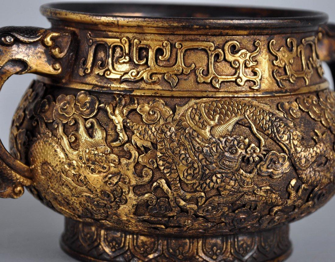 A Parcel-Gilt Bronze Censer, Qing Dynasty - 6
