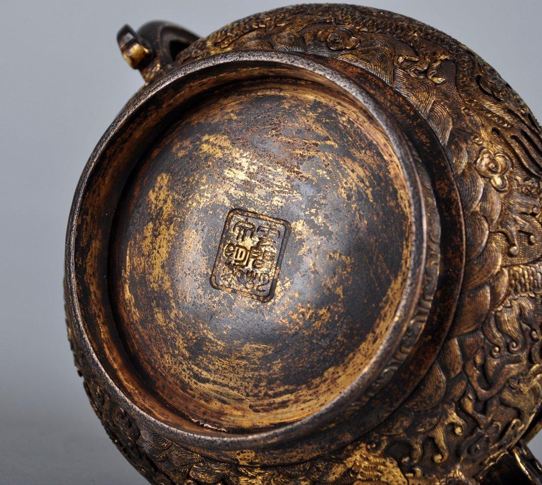 A Parcel-Gilt Bronze Censer, Qing Dynasty - 7