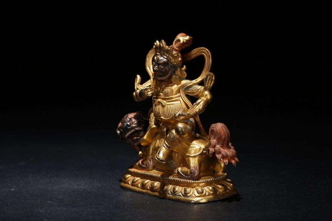 A Parcel-Gilt Bronze Figure, Qing Dynasty - 5