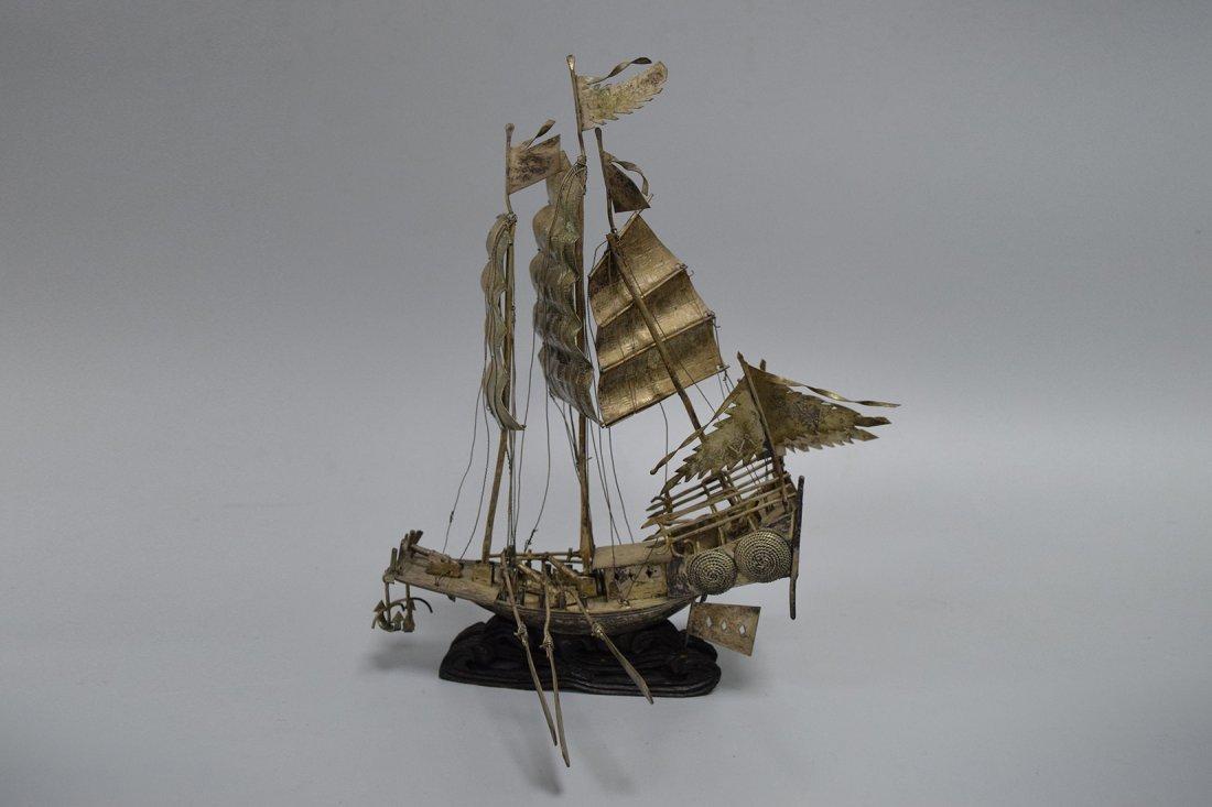 A Silver Canton Merchant Boat, Qing Dynasty - 4