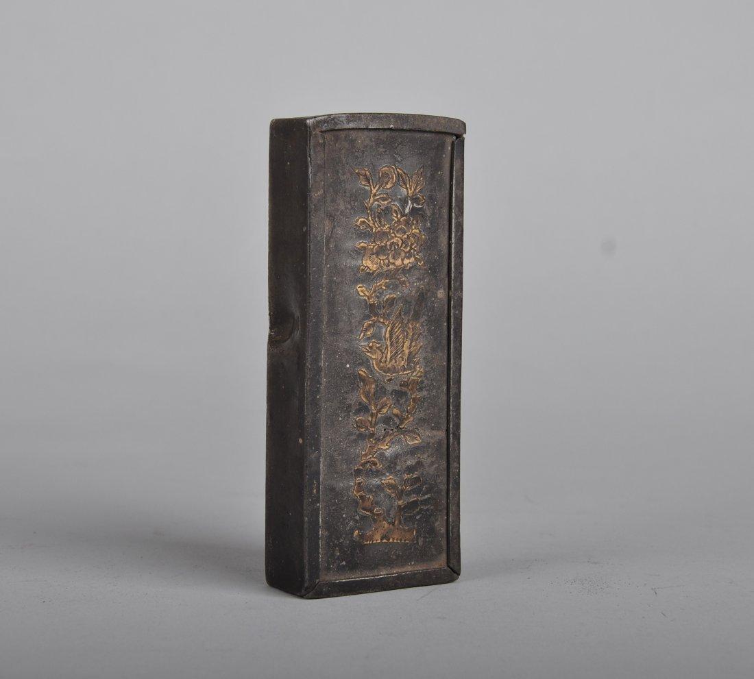 A Copper Inlaid Tin Box, Qing Dynasty