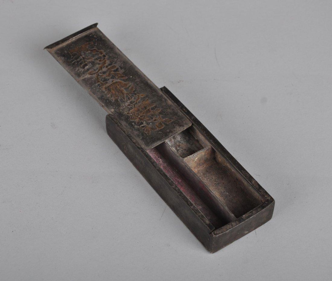 A Copper Inlaid Tin Box, Qing Dynasty - 4