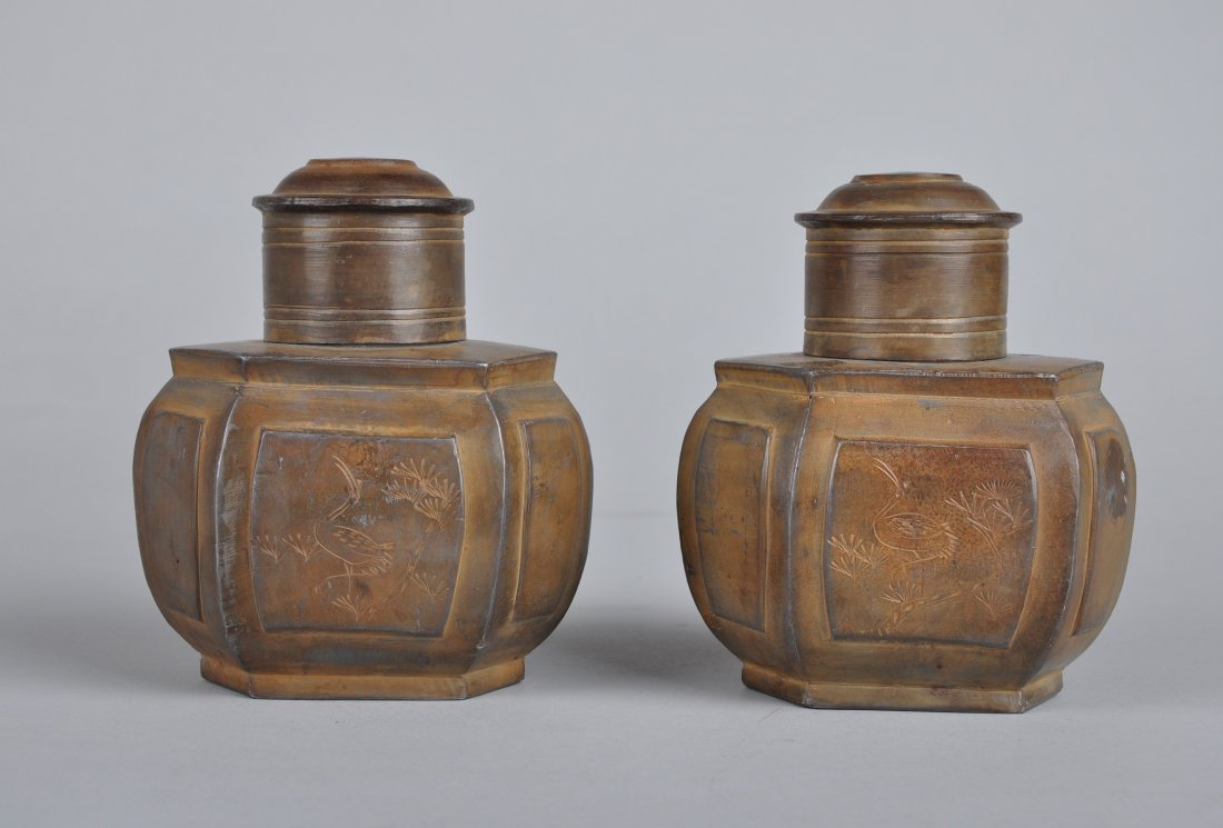 A Pair of Tin Tea Boxes, Qing Dynasty