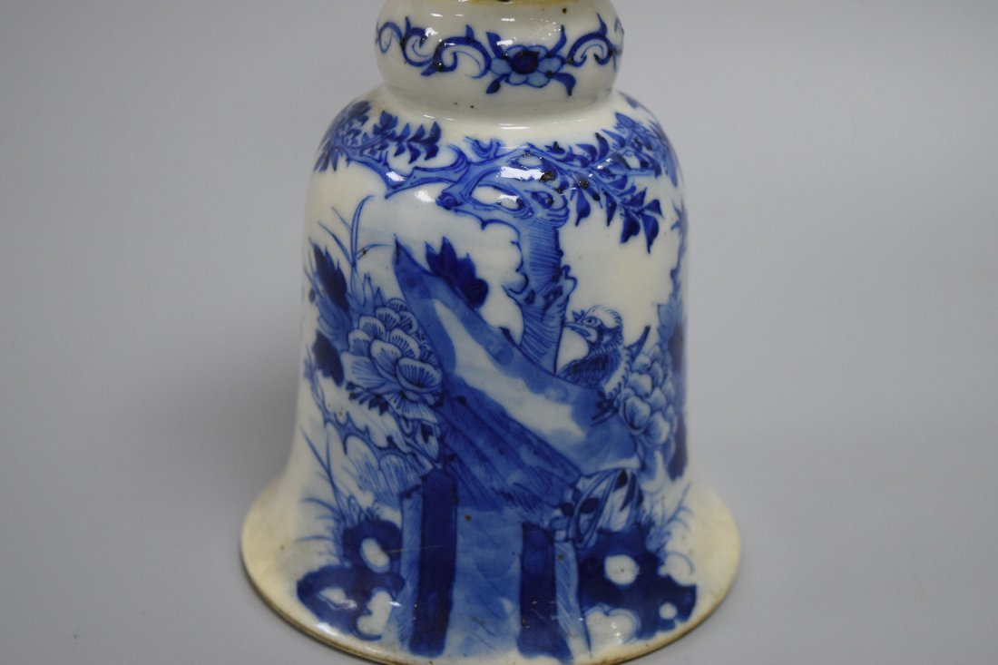 A Blue and White Candle Holder, Qing Dynasty - 2