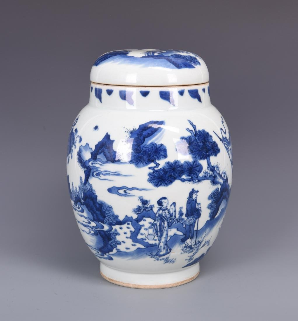 A BLUE AND WHITE JAR AND COVER, KANGXI PERIOD