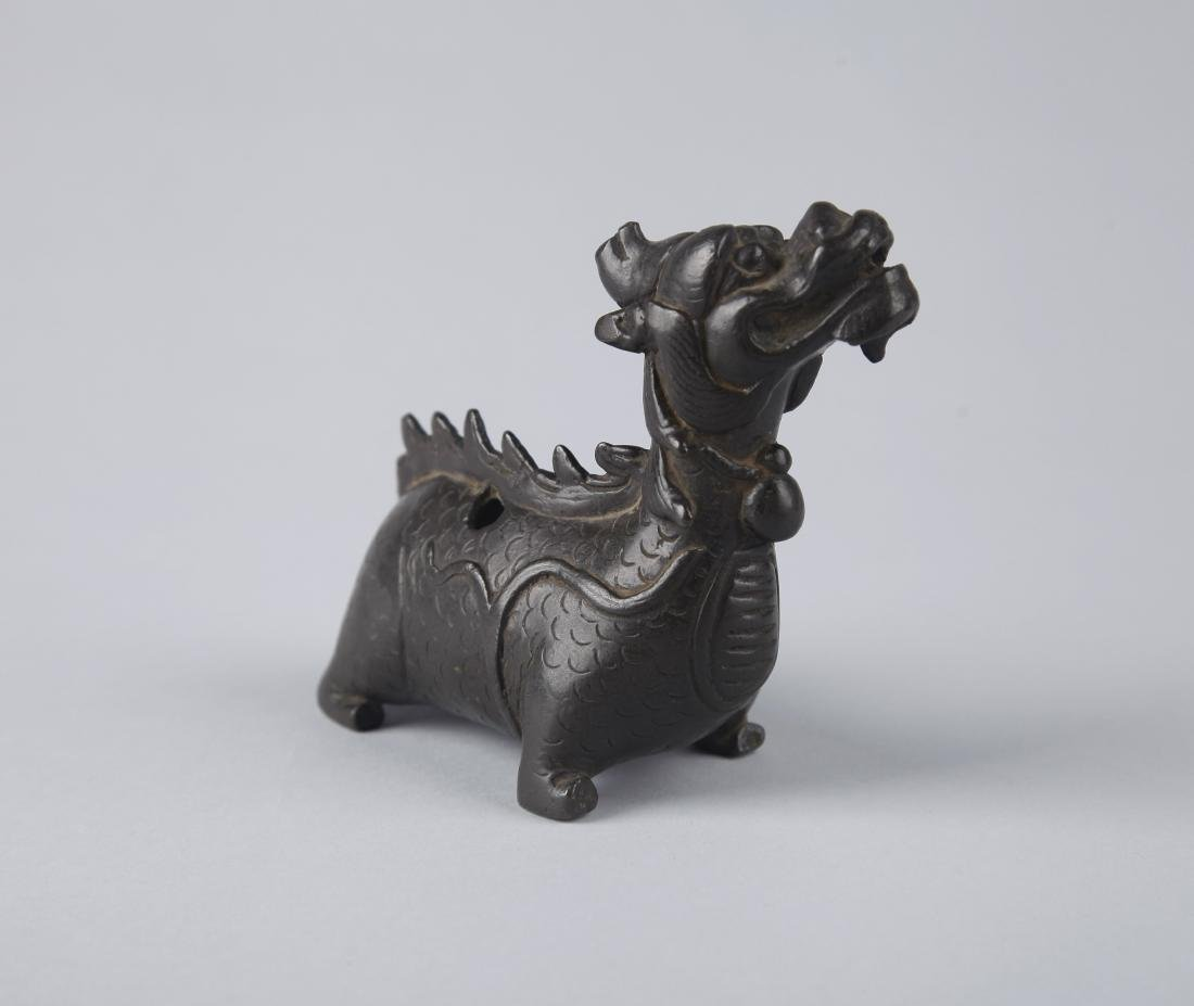 A BRONZE FIGURE OF A MYTHICAL BEAST, EARLY MING DYNASTY - 6