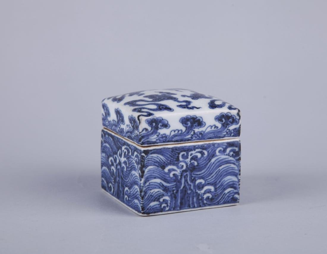 A BLUE AND WHITE RECTANGUALR BOX AND COVER, MING - 2