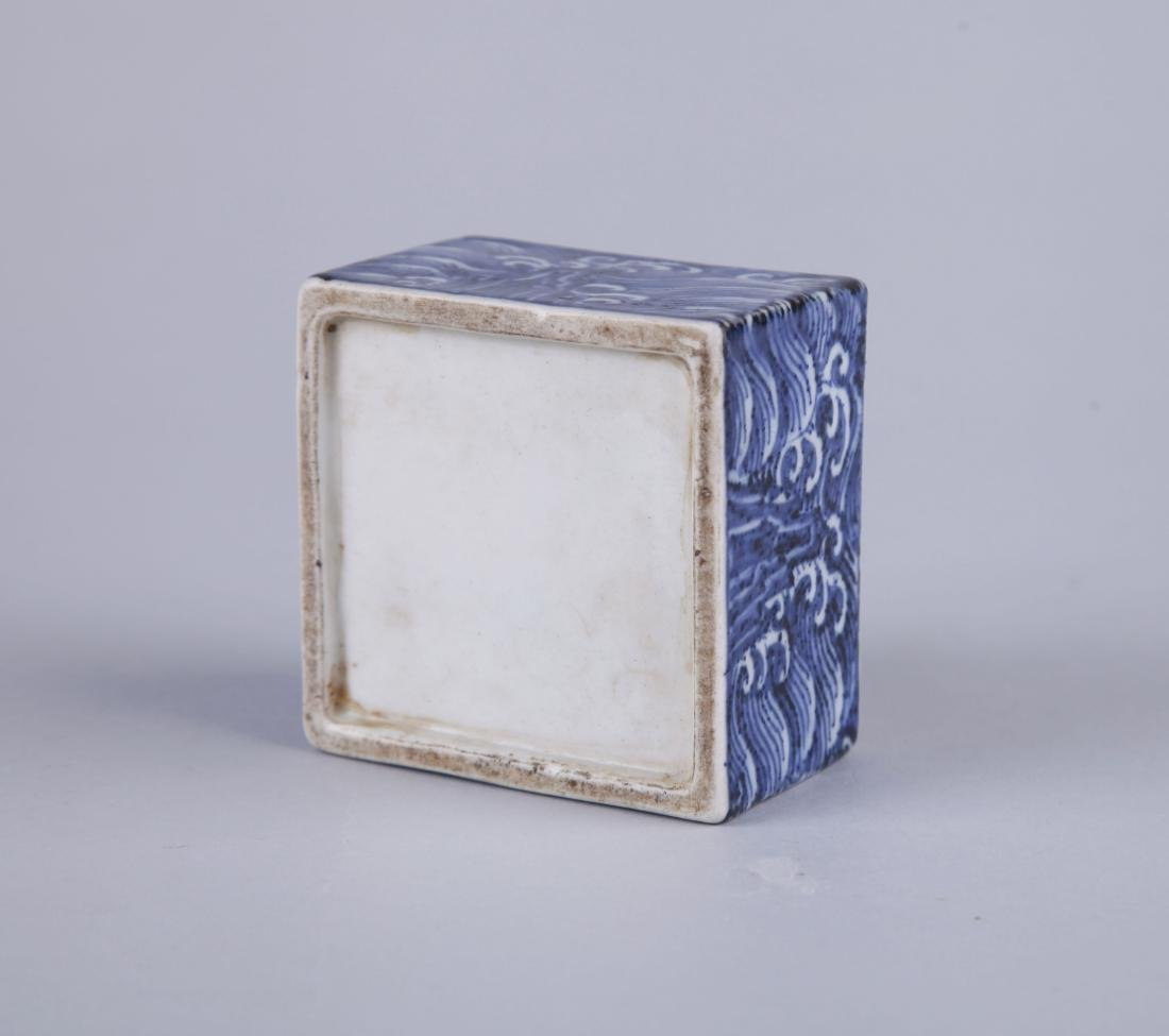 A BLUE AND WHITE RECTANGUALR BOX AND COVER, MING - 6