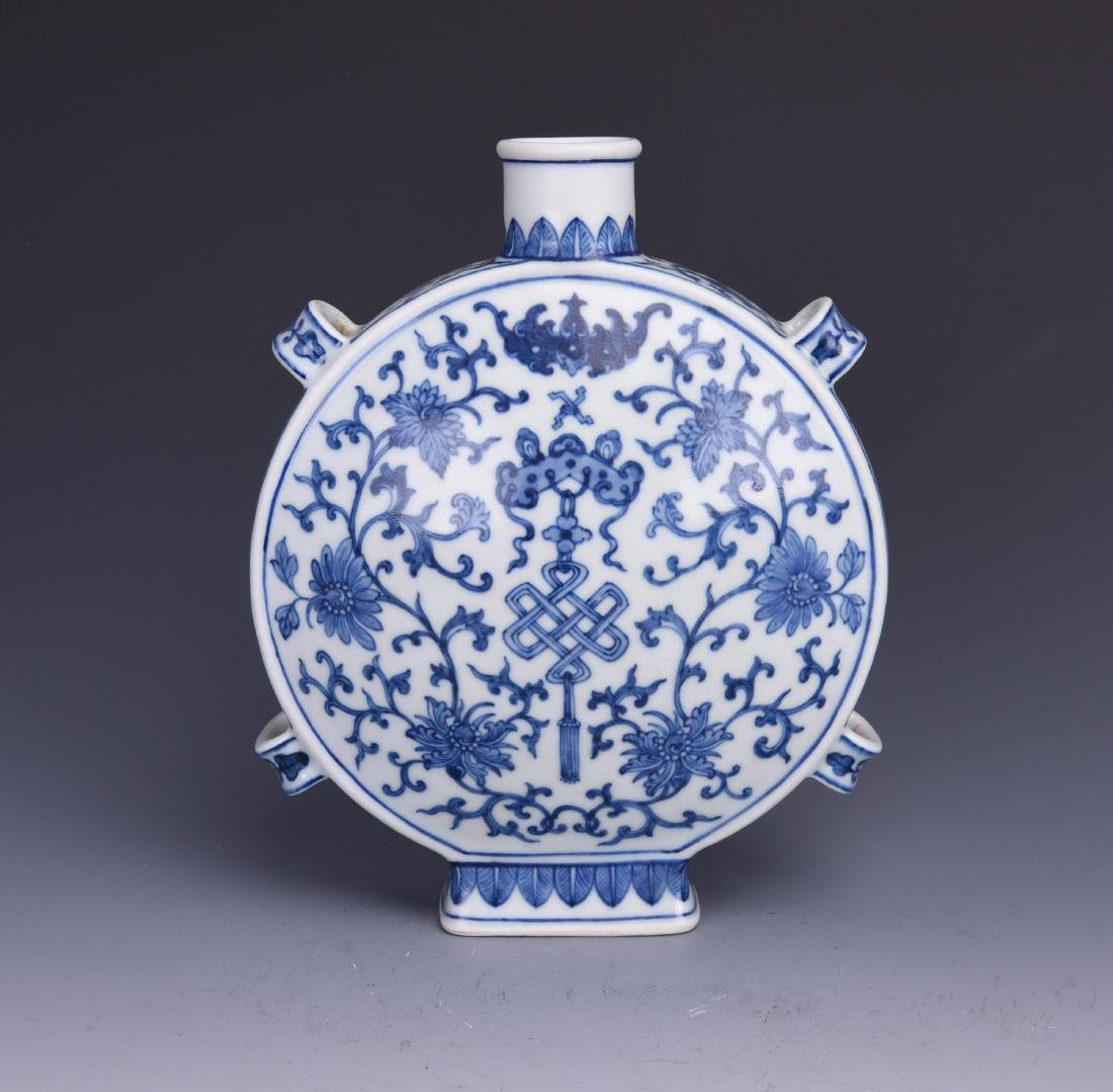 A BLUE AND WHITE MOON FLASK, JIAQING MARK, QING DYNASTY - 2