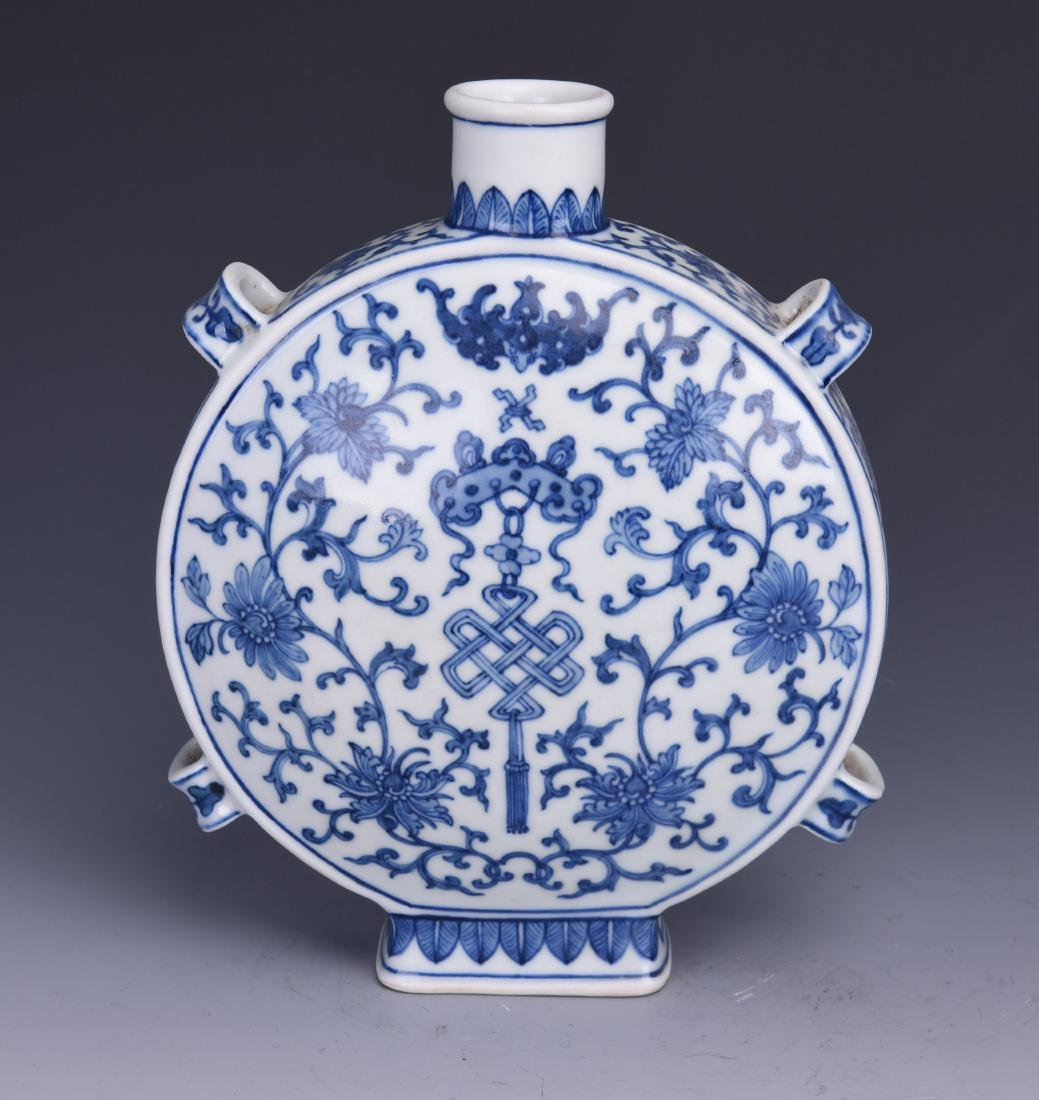 A BLUE AND WHITE MOON FLASK, JIAQING MARK, QING DYNASTY - 3