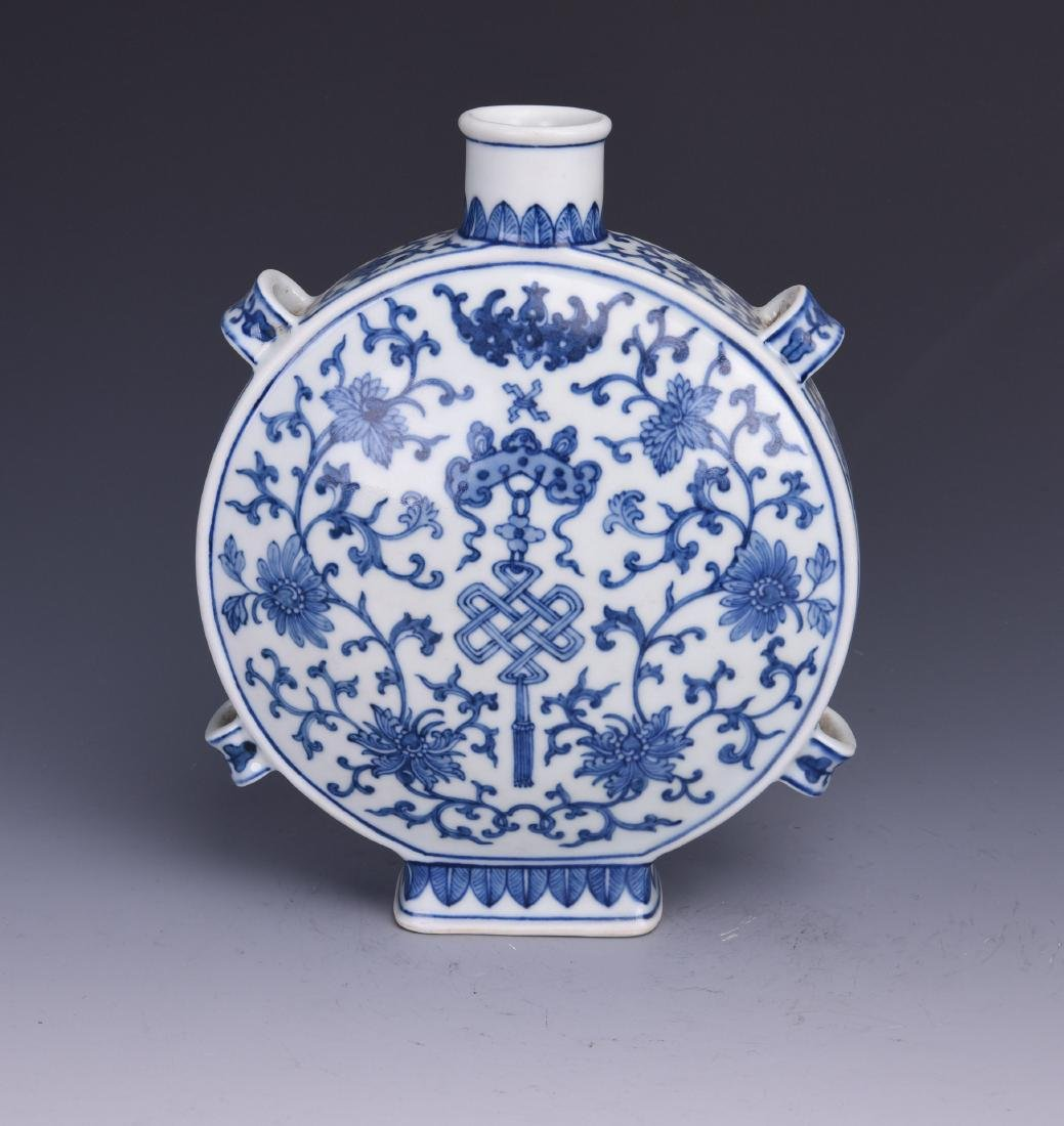 A BLUE AND WHITE MOON FLASK, JIAQING MARK, QING DYNASTY - 4