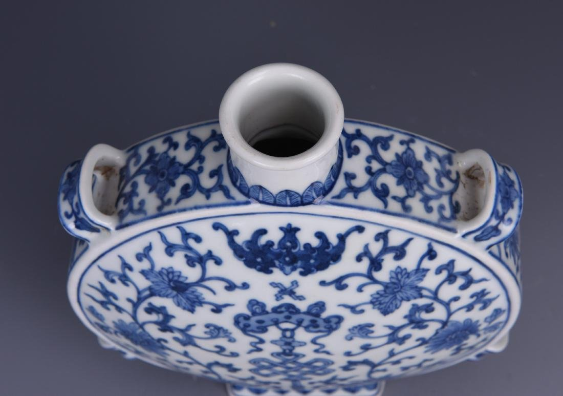 A BLUE AND WHITE MOON FLASK, JIAQING MARK, QING DYNASTY - 9