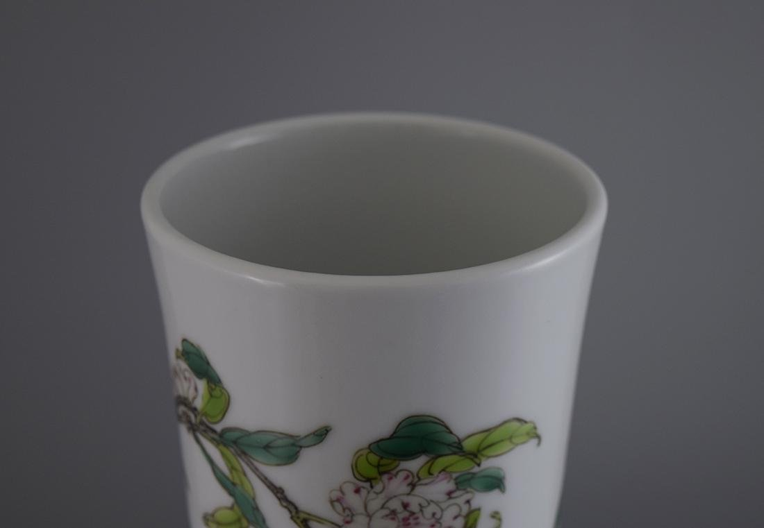 A FAMILLE ROSE 'NINE PEACHES' VASE, QIANLONG MARK BUT - 2