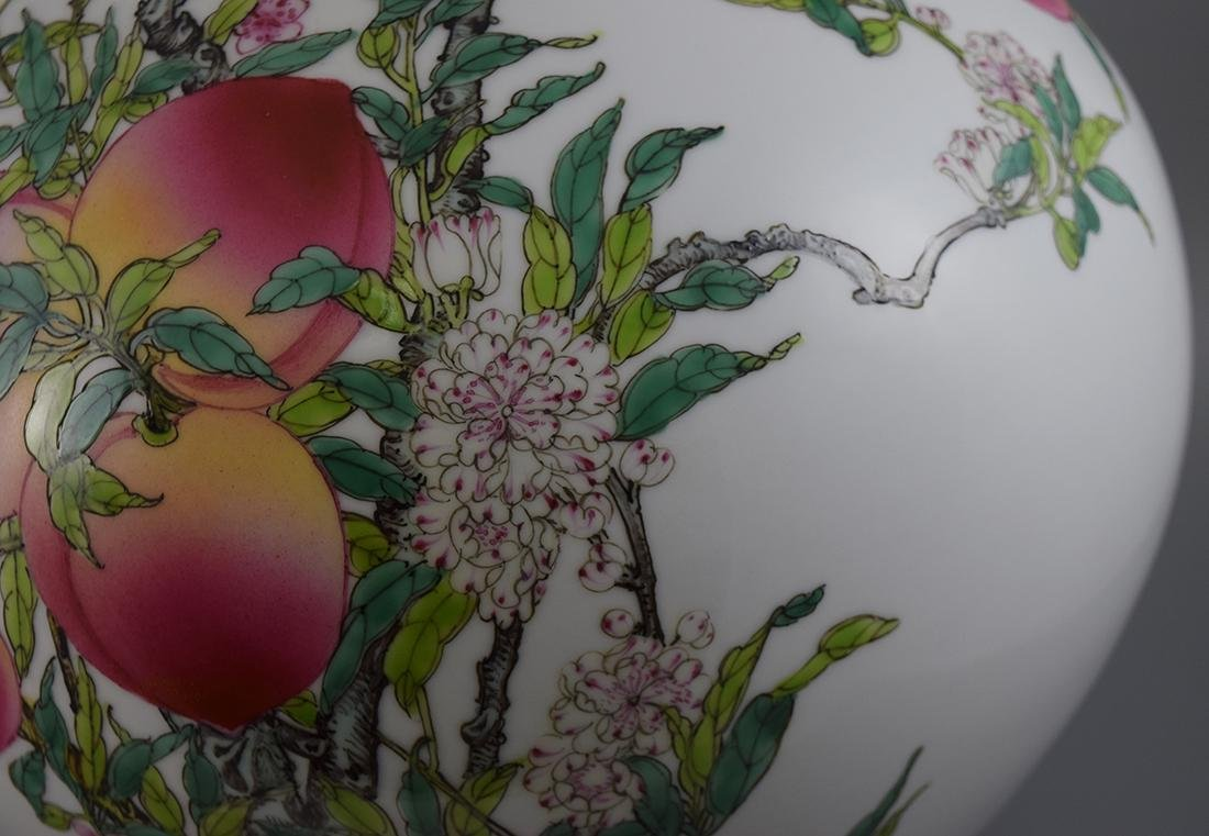 A FAMILLE ROSE 'NINE PEACHES' VASE, QIANLONG MARK BUT - 3