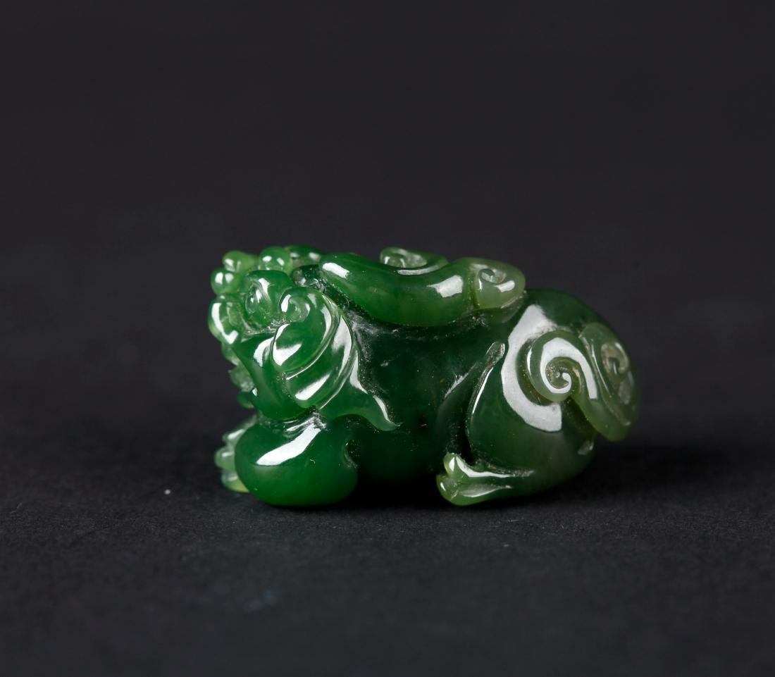 A CHINESE CARVED SPINACH JADE MYTHICAL BEAST - 6