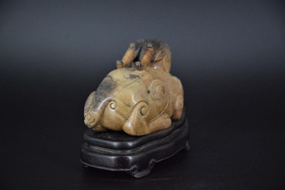 A CHINESE CARVED JADE MYTHICAL BEAST, QING DYNASTY - 4