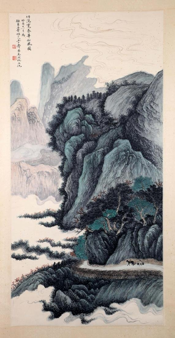 A CHINESE PAINTING, AFTER WU HUFAN, INK AND COLOUR ON
