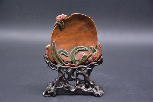 A CHINESE SANDALWOOD CARVING OF FRUITS GROUP, QING - Aug 03