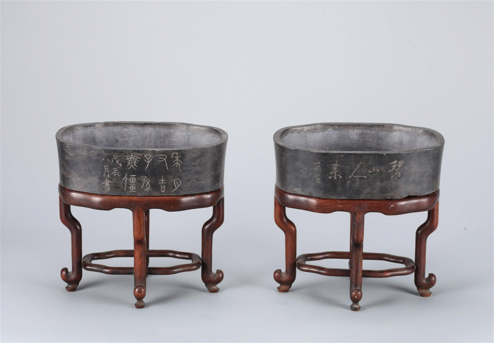 A PAIR OF CHINESE DUAN STONE JARDINIERE, QING DYNASTY