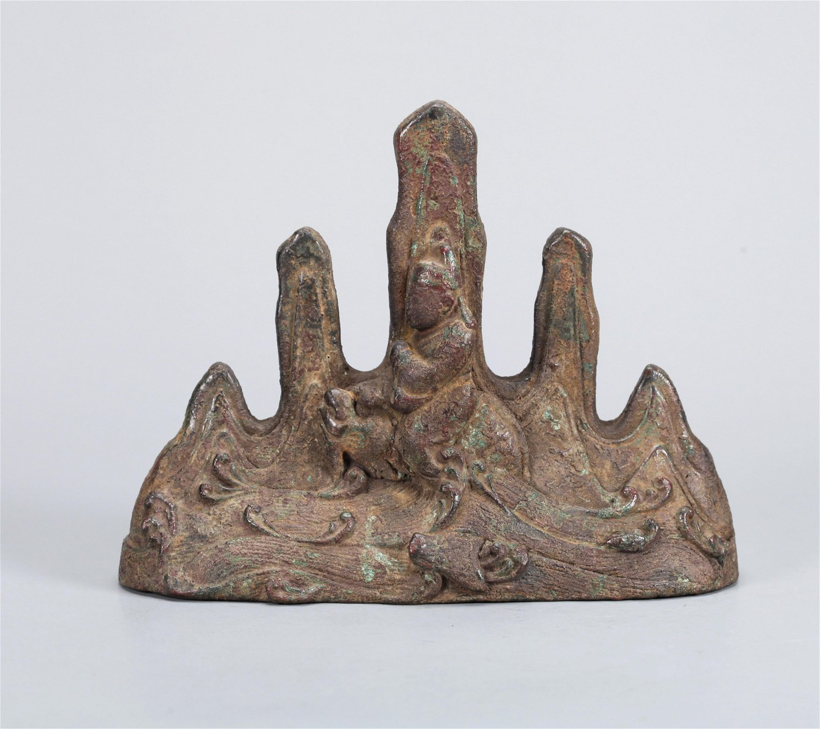 A CHINESE BRONZE BRUSH HOLDER,  QING DYNASTY